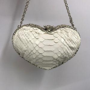 ❤️SOLD❤️ Clara Kasavina Wht Python Heart Bag